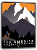 See America, Welcome to Montana. Vintage USA Travel Canvas. Sizes: A4/A3/A2/A1 (002709)